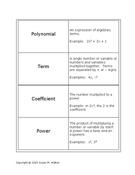 Polynomial Vocabulary Flashcards or Card Sort - Introducto