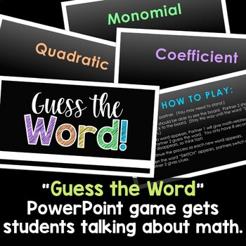 Polynomial Vocabulary Study Guide and Games