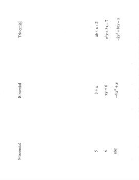 Polynomials vocab foldable vocabulary monomial binomial trinomial examples