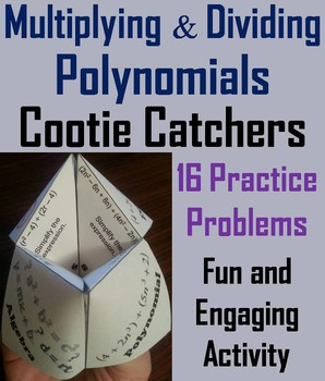 Multiplying and Dividing Polynomials Practice Activity Quiz - 6th 7th 8th 9th