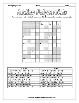 Polynomial Operations: Adding, Subtracting and Classifying Polynomials  (Bundle)