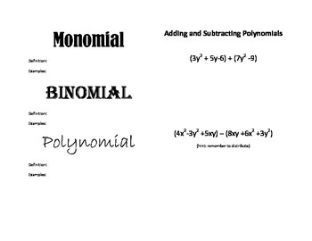 Polynomials: Adding and Subtracting