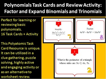 Polynomials: Binomials and Trinomials Task Card REVIEW GAME {Common Core}