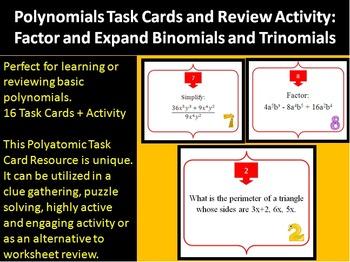 Polynomials: Binomials and Trinomials Task Card REVIEW GAM