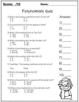 Polynomials, Algebra, Classifying, Combining like terms, Applications, Quiz