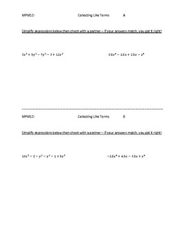 Polynomials: Collecting Like Terms Partner Activity