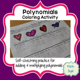 Valentine's Polynomial Operations Coloring Activity