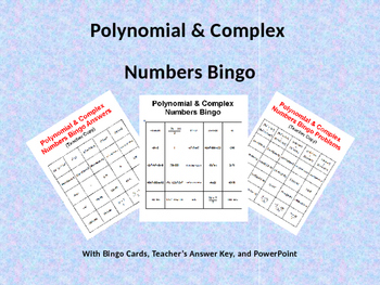Polynomials & Complex Numbers Bingo with Bingo Cards and P