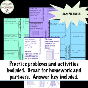 Polynomials Bundle NOTES ONLY for Algebra 2 Curriculum Unit 5