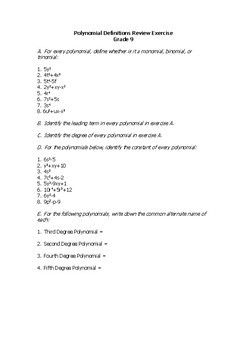 Polynomials Definitions Review Exercise (Math grade 9)