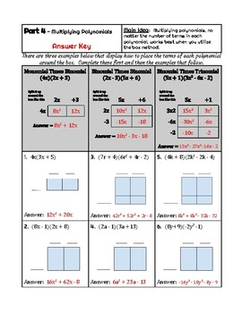 Polynomials End (or Beginning) of Year Review - Add, Subtract, and Multiply