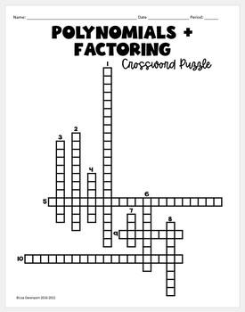 Polynomials & Factoring (Crossword Puzzle)