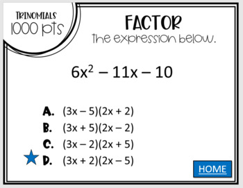 Polynomials & Factoring (Jeopardy Review)