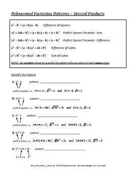 Polynomials: Factoring Patterns - Difference of Squares/Cubes, Perfect Square