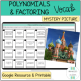 Polynomials & Factoring Vocabulary Words Digital Self-Checking Activity
