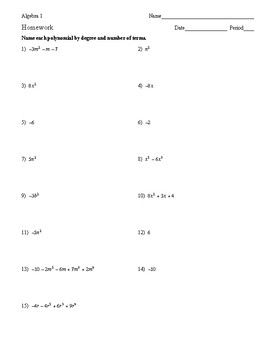 Algebra 1 - Polynomials - Homework Pack