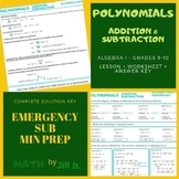 Polynomials Introduction, Addition, Subtraction Lesson + W