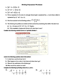 Polynomials Long Division Worksheet