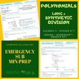 Polynomials Long & Synthetic Division Lesson + Worksheet +