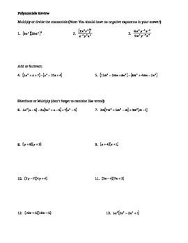 Polynomials (Multiplying, Dividing, Adding, Subtracting, F