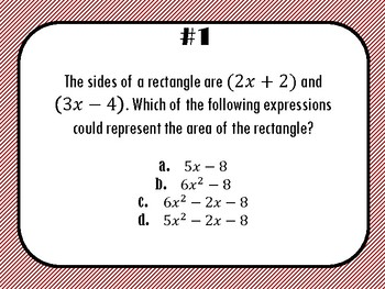 Polynomials Operations Task Cards