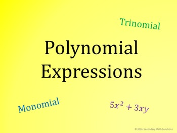 Polynomials PowerPoint Activity