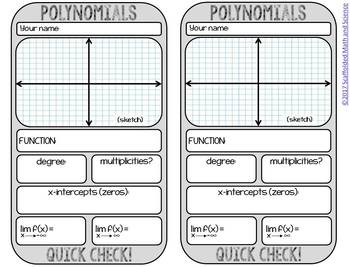 Polynomials Quick Check