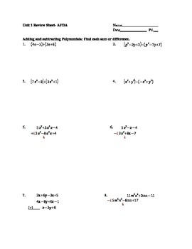 Polynomials Review Sheet