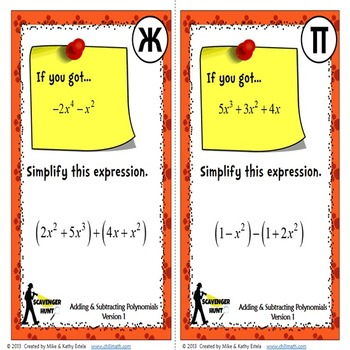 Polynomials Scavenger Hunt {Adding and Subtracting}