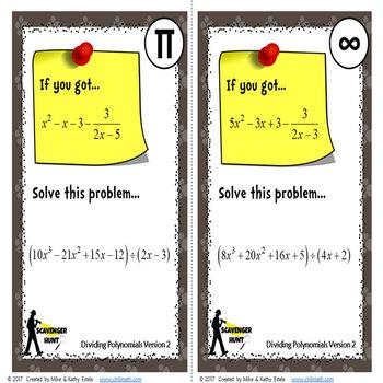 Polynomials Scavenger Hunt {Dividing}