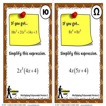 Polynomials Scavenger Hunt {Multiplying}