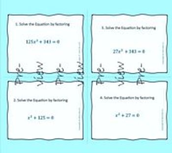 Polynomials - Solving Sum and Difference of Cubes - Task Cards