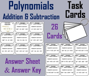 Adding and Subtracting Polynomials Task Cards for 6th 7th 8th 9th Grade