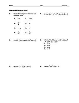 Polynomials Test BUNDLE