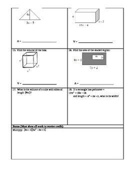 Polynomials Test (Multiply, Divide, Combine, FOIL, Applications)
