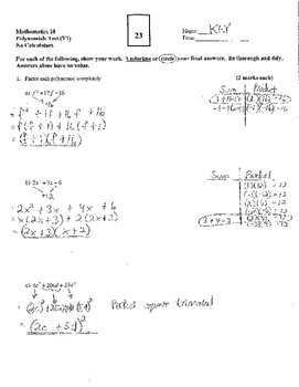Polynomials Test (Version 1) - with FULL SOLUTIONS