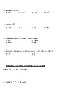 Math 9: Polynomials Test - with FULL SOLUTIONS