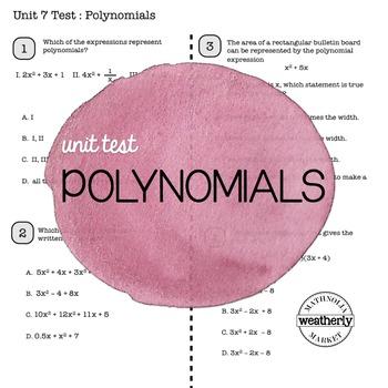 POLYNOMIALS Unit Test CC Algebra 1