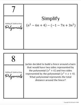 Polynomials Unit: Adding, Subtracting, and Multiplying Polynomials