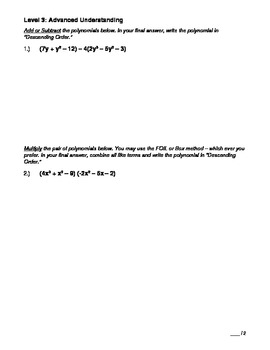 Polynomials Unit Test - Pre-Algebra/Algebra
