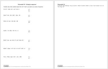 Polynomials VII - Solving by Comparison
