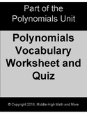 Polynomials Vocabulary Worksheet and Quiz - Printable and DIGITAL