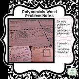 Polynomials Word Problems Interactive Notes