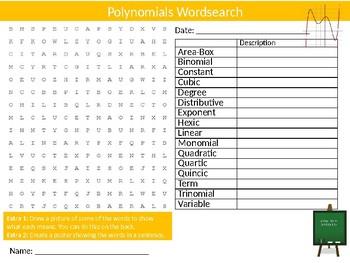 Polynomials Wordsearch Sheet Math Mathematics Numbers Starter Activity Keywords