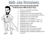 Polynomials and Factoring Joke Worksheet Bundle #2 (14 Total) with Answer Keys