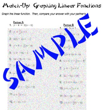 slope and graphing linear functions partner worksheets match up - Graphing Linear Functions Worksheet