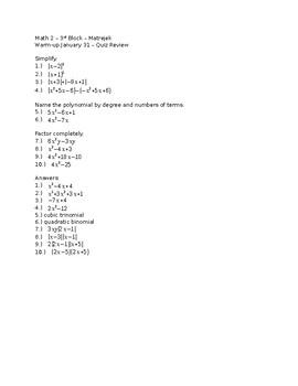 Polynomials and Factoring Quiz Review