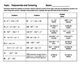Polynomials and Factoring Review Color by Numbers Activity
