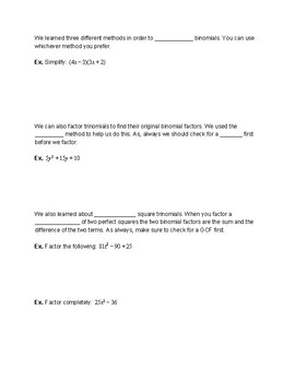 Polynomials and Factoring Review and Test