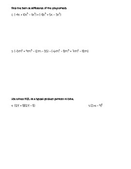 Polynomials and Factoring Test